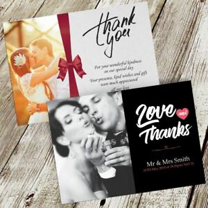 Wedding Thank You Cards Your Photo Personalised Flat Free Digital