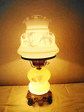 GONE WITH THE WIND VINTAGE 3-WAY FANCY MILK-GLASS FLORAL DISPLAY HURRICANE LAMP