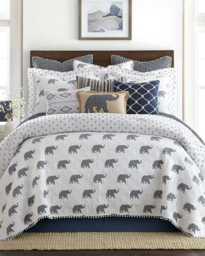 Alabama Elephant Quilt Twin Size Soft Gray White Stitched Reversible S