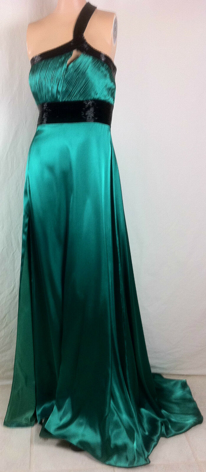 ny kvinnor Shimmer av Bari Jay Emerald grön Beads One Shoulder Gown Dress SZ 12