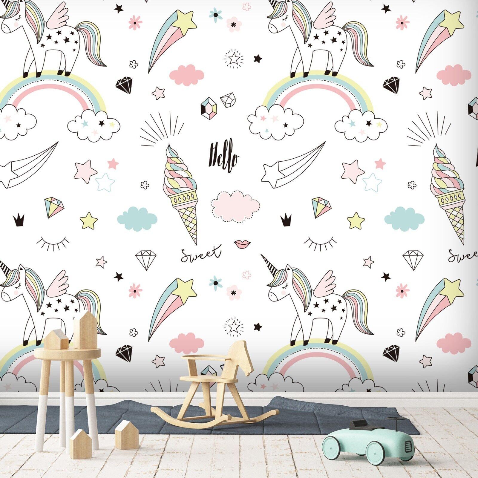 3D Unicorn Rainbow 782 Wallpaper Mural Paper Wall Print Murals UK Summer