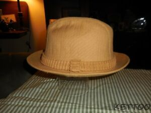 Vintage MEN S Beige STETSON Hat Safari Fedora LINEN SZ 7 Pinch Front ... 6b887a0210d