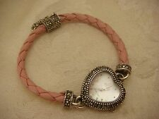 ECCLISSI STERLING SILVER HEART WATCH MARCASITE PAVE PINK MAGNETIC CLASP