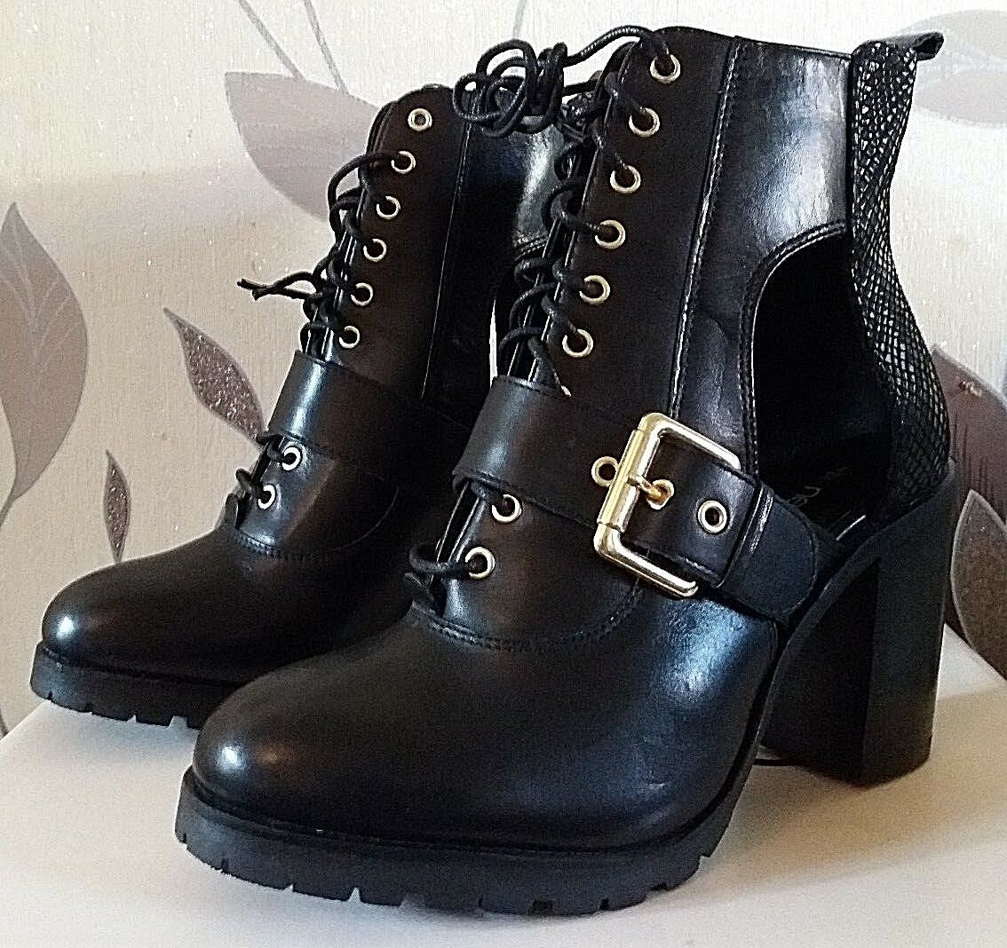 NEXT SIZE UK 7 ( EU 41) BLACK REAL LEATHER LACE UP HIGH ANKLE BOOT RRP £65.00