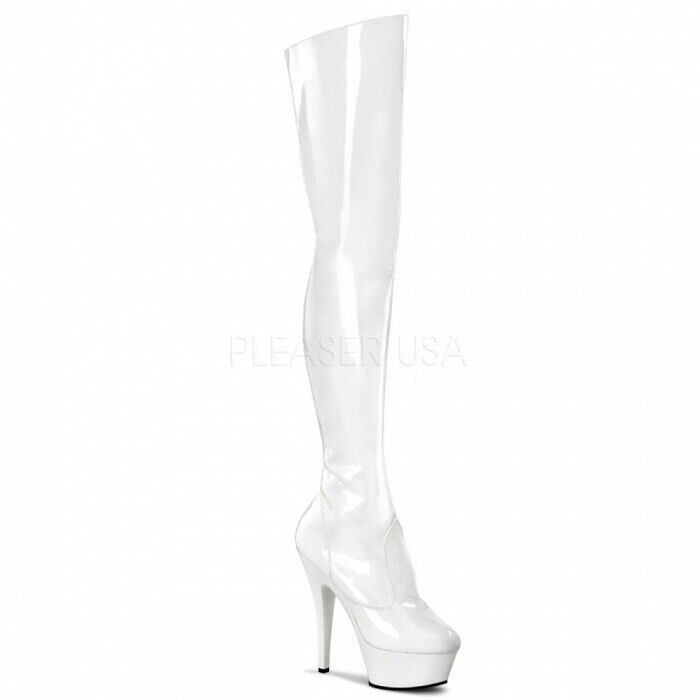 Plateau Stiefel Overknee Stiefel Gr.38 US 8 Lack weiss GoGo Tabledance Show