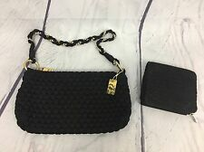 LINA Black Crochet Woven Shoulder Handbag Purse Gold Chain Matching Wallet A11