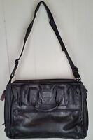 Tumi Black Leather Expandable Briefcase/Messenger Bag Shoulder Bag