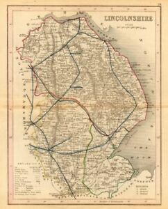 Lincolnshire Map By Archer & Dugdale Art Prints Seats Canals Polling Places 1845 Old Maps, Atlases & Globes