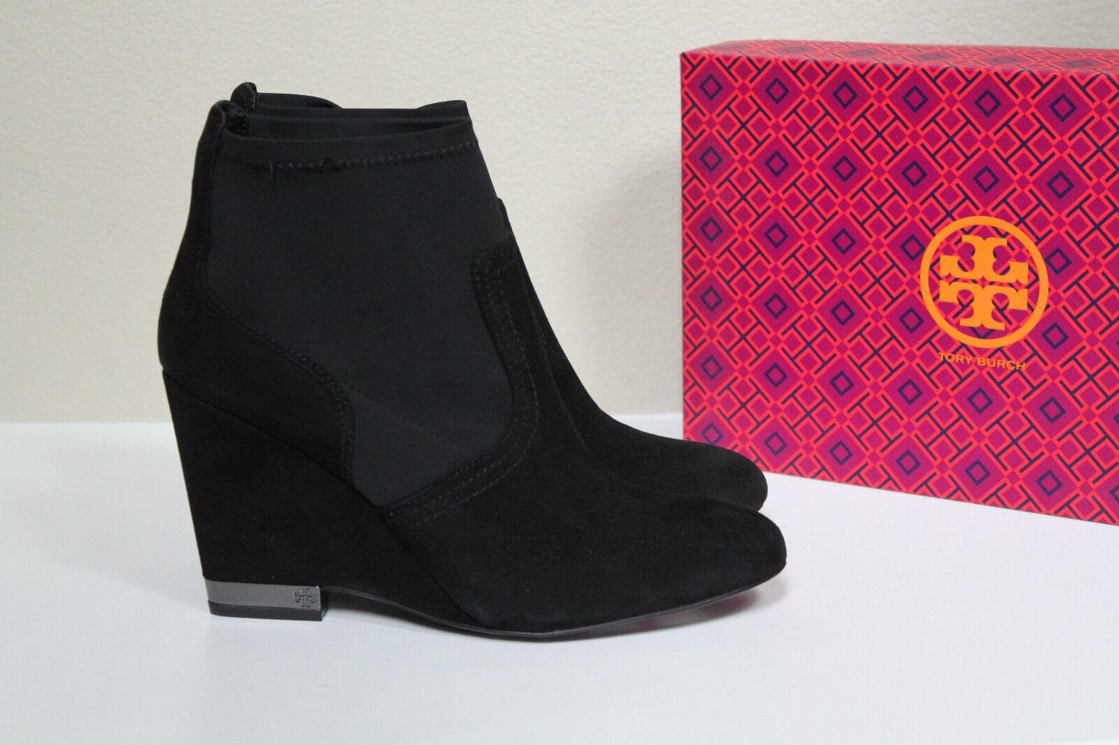 grandi prezzi scontati New Tory Burch Burch Burch nero Brenda Suede & Lycra Wedge Heel Ankle avvioie scarpe sz 10  una marca di lusso