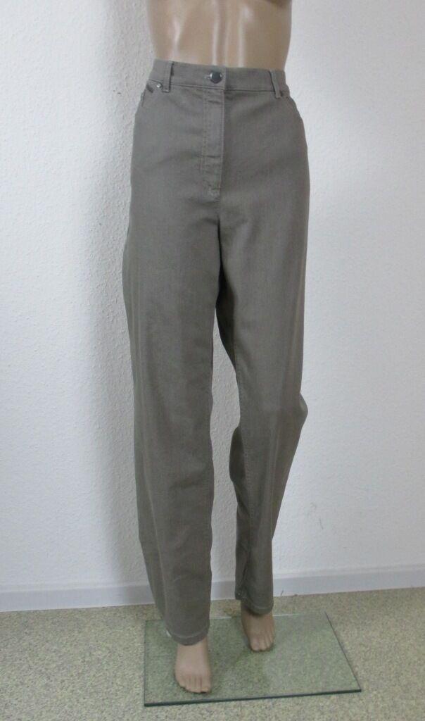 Jeans in der Farbe  schlamm  , weites Bein, Größe 46