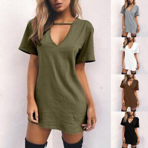 Women T-shirt Dress Choker V Neck Summer Dresses Short Sleeve Casual Halter Boho