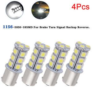 4X-12V-1156-BA15S-5050-18smd-LED-Blanco-Coche-Senal-Freno-De-Cola-Bombilla-Lateral-NP