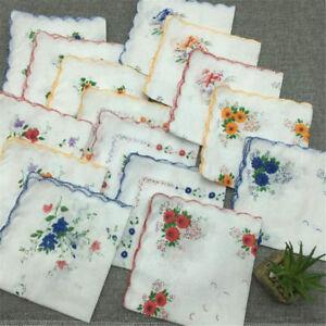 1-2-5X-Retro-Style-Floral-Flowers-Handkerchief-Lady-Women-Cotton-Hanky-30CM-30CM
