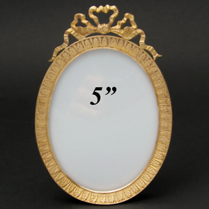 Antique-French-Napoleon-III-5-Gilt-Bronze-Picture-Frame-Oval-with-Bow-amp-Ribbon