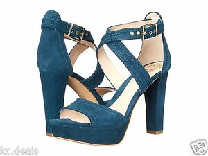 b373c92c3231 VINCE CAMUTO SHAYLA TEAL GREEN SUEDE SANDALS OPEN TOE WOMEN PLATFORM ...