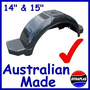 2-x-BLACK-BOAT-amp-BOX-BIKE-TRAILER-PLASTIC-MUDGUARDS-SUIT-14-15-034-WHEELS-TYRES