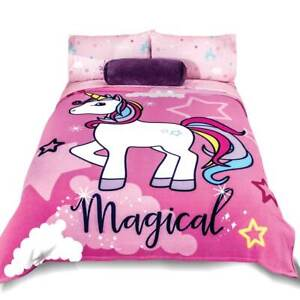 Unicorn Pink Girls Fleece Blanket by Intima Hogar