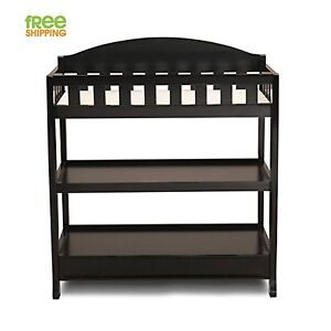 Terrific Details About Baby Changing Table Dresser Black Wood Shelves Nursery Furniture New Interior Design Ideas Apansoteloinfo