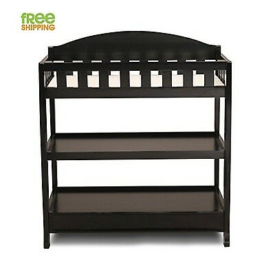 Baby Changing Table Dresser Black Wood