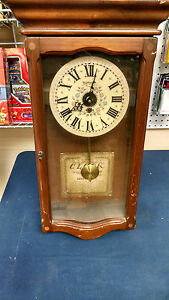 New-England-Clock-Co-210P-8-day-Wall-Clock-with-Pendulum-and-Key-Vintage-AS-IS