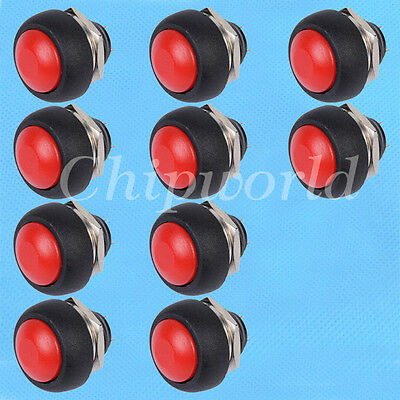 10pcs Red 12mm Waterproof Momentary ON/OFF Push button Mini Round Switch