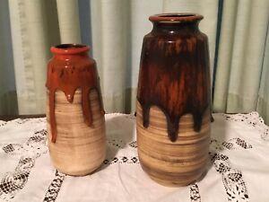 Mid-Century-Fat-Lava-Drip-Glaze-PAIR-Of-Vases-Beauceware-Pottery-Quebec