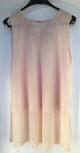 NEW-034-Wallis-034-Womens-Top-Size-14-Nude-Sleeveless-Diamante-detail-Side-splits