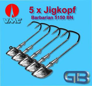5-x-VMC-Barbarian-Jig-5150-BN-4-0-6g-18g-Jigkopf-Jighaken-Eriekopf-Bleikopf