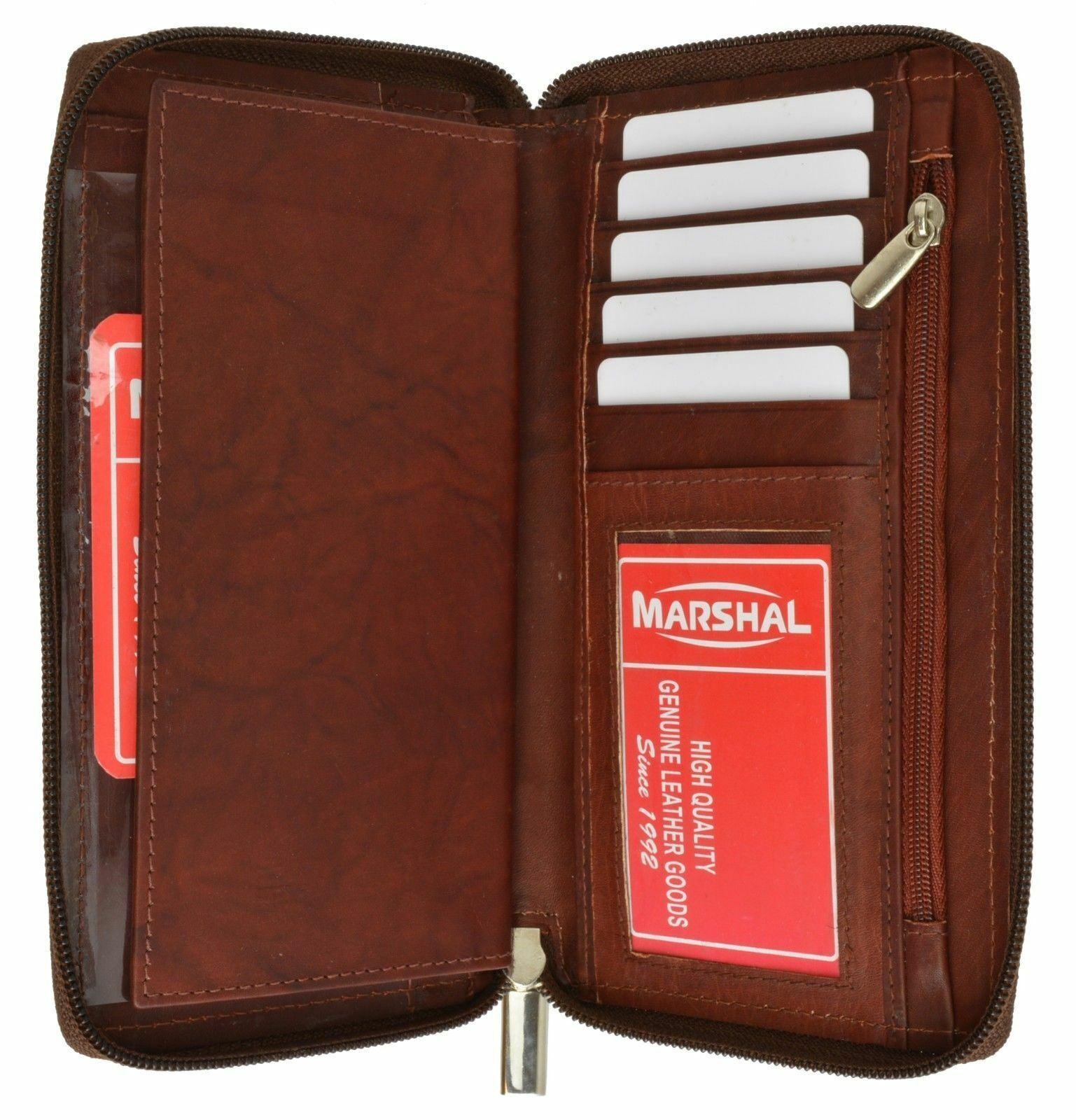 Burgundy Genuine Leather Credit Card Checkbook Holder Zip Around Wallet