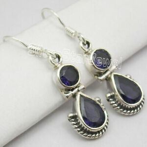 Round-Drop-Earrings-925-Solid-Silver-IOLITE-2-GEMSTONE-Dangle-Jewelry-1-3-034