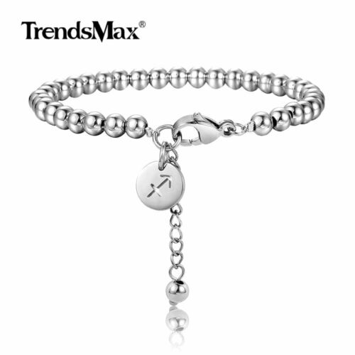 Stainless Steel 12 Zodiac Sign Constellations Bracelet Adjustable Beaded Chain