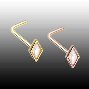 Rose Gold Illuminating Diamond L-Shaped Nose Ring Sexy ...
