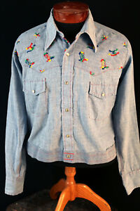 VINTAGE-HIPPIE-1970-039-S-COTTON-BLEND-CHAMBRAY-EMBROIDERED-SHIRT-JACKET-SIZE-LARGE