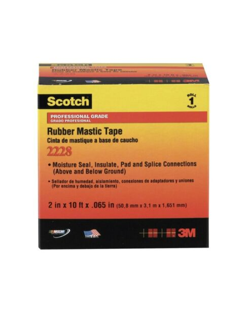 """3M Scotch Rubber Mastic Tape 2228 - 2 in x 10 ft, (2""""x10') Black FREE SHIPPING!"""