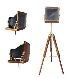 Antique Wooden Old Movie Film Camera Royal Home Decor Floor Tripod Camera Retro