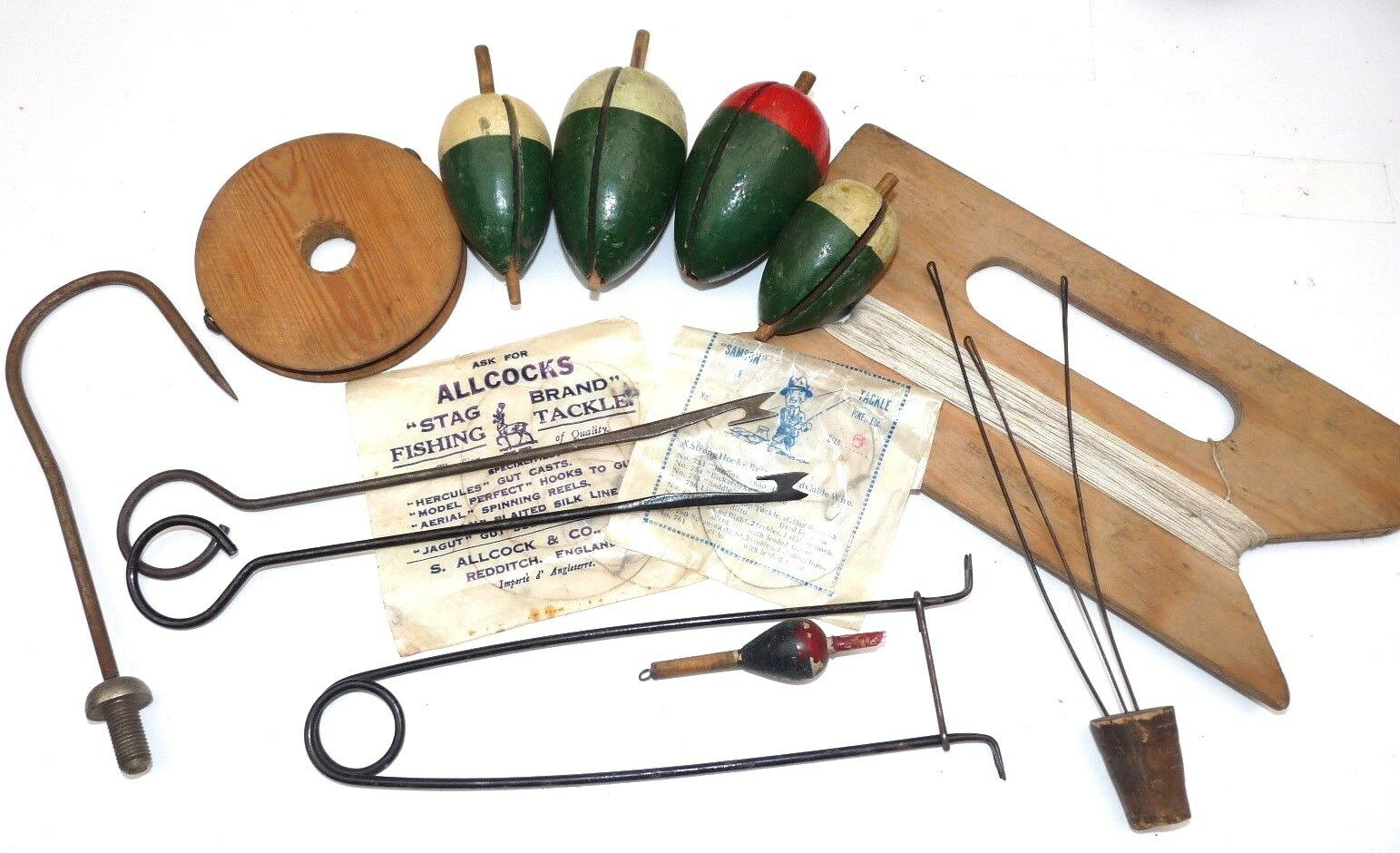 Vintage temprano fishig Gaceta Pike Tapón flotadores Gag Gaff Gancho y Aparejo