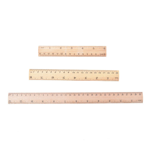 Double Side Wooden Ruler Wood Carpenter Inch Scales /& Metric Scales Tools 1pc SL