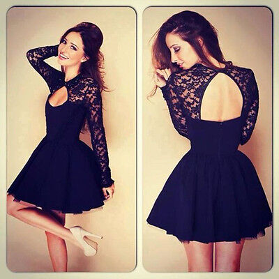 Sexy Women Floral Long Sleeve Lace Backless Evening Party Mini Dress Hoc