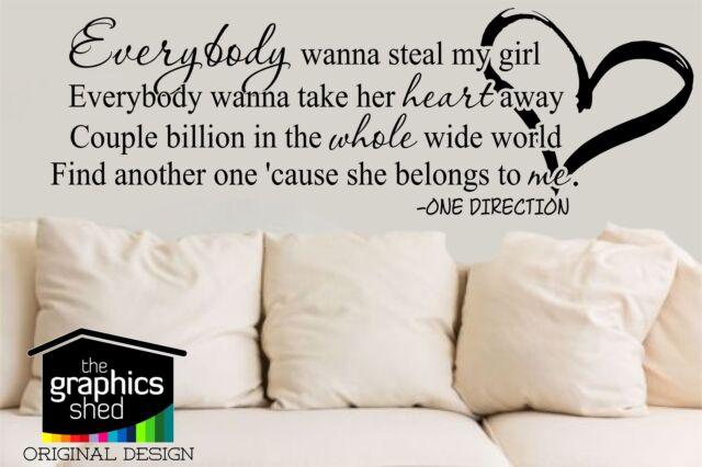 one direction -  steal my girl lyrics  - wall art sticker 1d