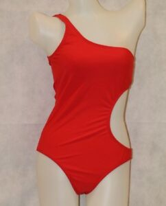 ALLOY-One-Shoulder-Shark-bite-Side-cut-out-CORAL-Tank-Swimsuit-NWOT-8-Medium-M