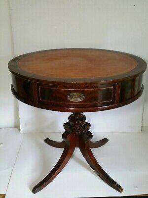 Terrific Antique Leather Top Round Mahogany Drum Table W Drawer Pedestal Chippendale Ebay Inzonedesignstudio Interior Chair Design Inzonedesignstudiocom
