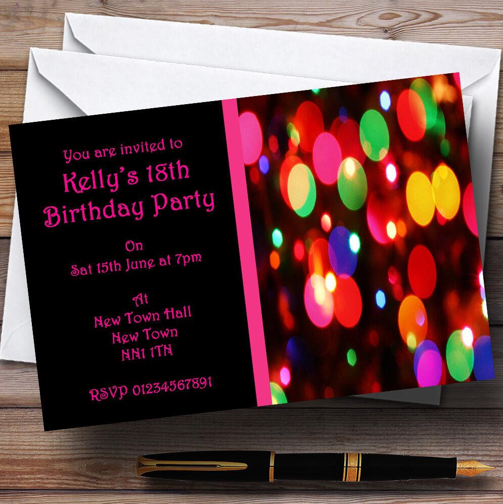 Célébrez Noël, accueillez le Nouvel An An Nouvel et re ez à la famille Rose Disco lumières Parti invitations personnalisées 469d70