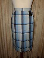 Ladies Marks And Spencer Pure Wool Tweed/ Tartan Skirt Size Uk 12-- 28 Waist