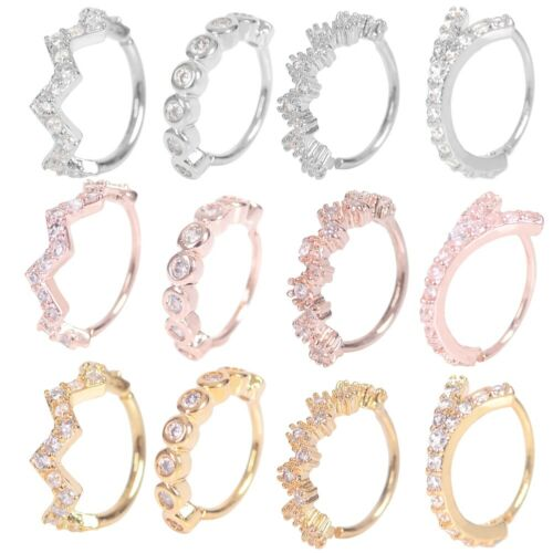 Nose Ring Hoop  Rook Helix Ear Studs Cuff Cartilage Crystal Zircon Piercing 8mm