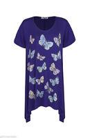 New Ladies Women Embellished Print Dipped Hem Tunic Top Plus Sizes 16-28