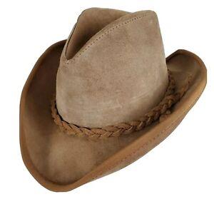 Vtg-Henschel-Skullys-Hat-Brown-Suede-Leather-Western-Outback-Size-Large-Braid