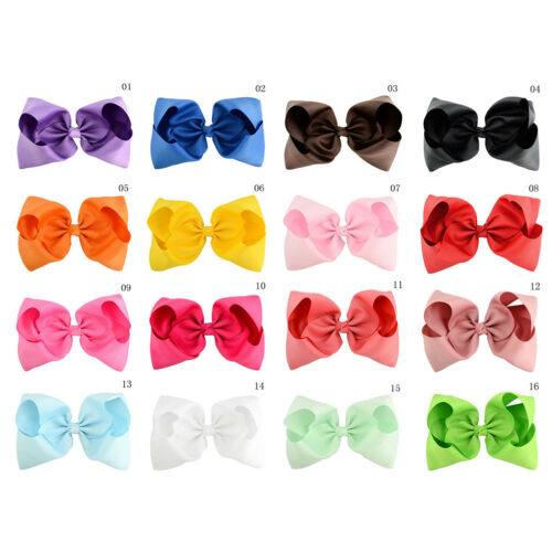 8 Inch Large Hair Bows Girls Grosgrain Ribbon Knot Clip Hair Accessories Gift UK