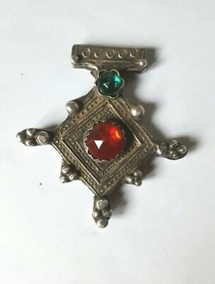 KABYL TRIBE-LARGE SILVER ENAMEL and NATURAL RED CORAL CROSS PENDANT BOGHDAD 84g