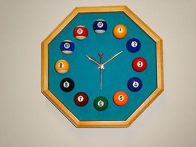 Billiard Octagon Clock Mahogany Frame Wine Felt