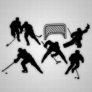 Hockey Player Decal Wall Silhouettes Hockey Team Players Wall Decal